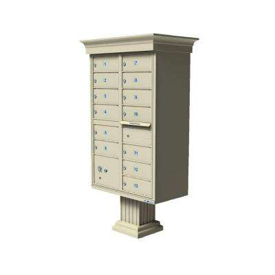 Vital 13-Mailboxes 1-Parcel Locker 1-Outgoing Pedestal Mount Cluster Box Unit
