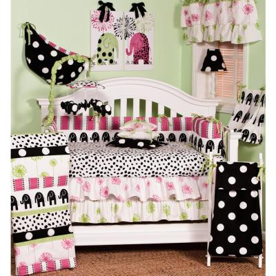 Hottsie Dottsie 8-Piece Pink, Black and White Elephant and Dots Crib Bedding Set