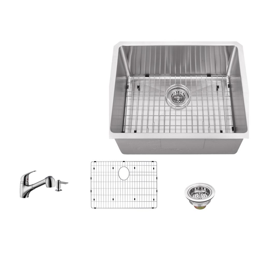IPT Sink Company Undermount Stainless Steel 23 In. 16 Gauge Bar Sink In  Brushed