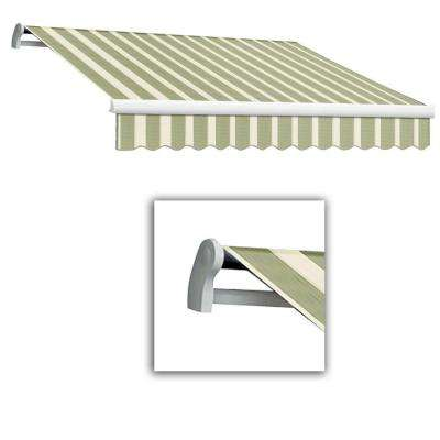 12 ft. Maui-LX Left Motor Retractable Acrylic Awning with Remote (120 in. Projection) in Sage/Cream