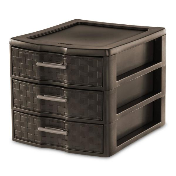 11 in. H x 13.625 in. W x 10 in. D  Medium Weave Office Supplies 3 Drawer Storage Organizer (12-Pack)