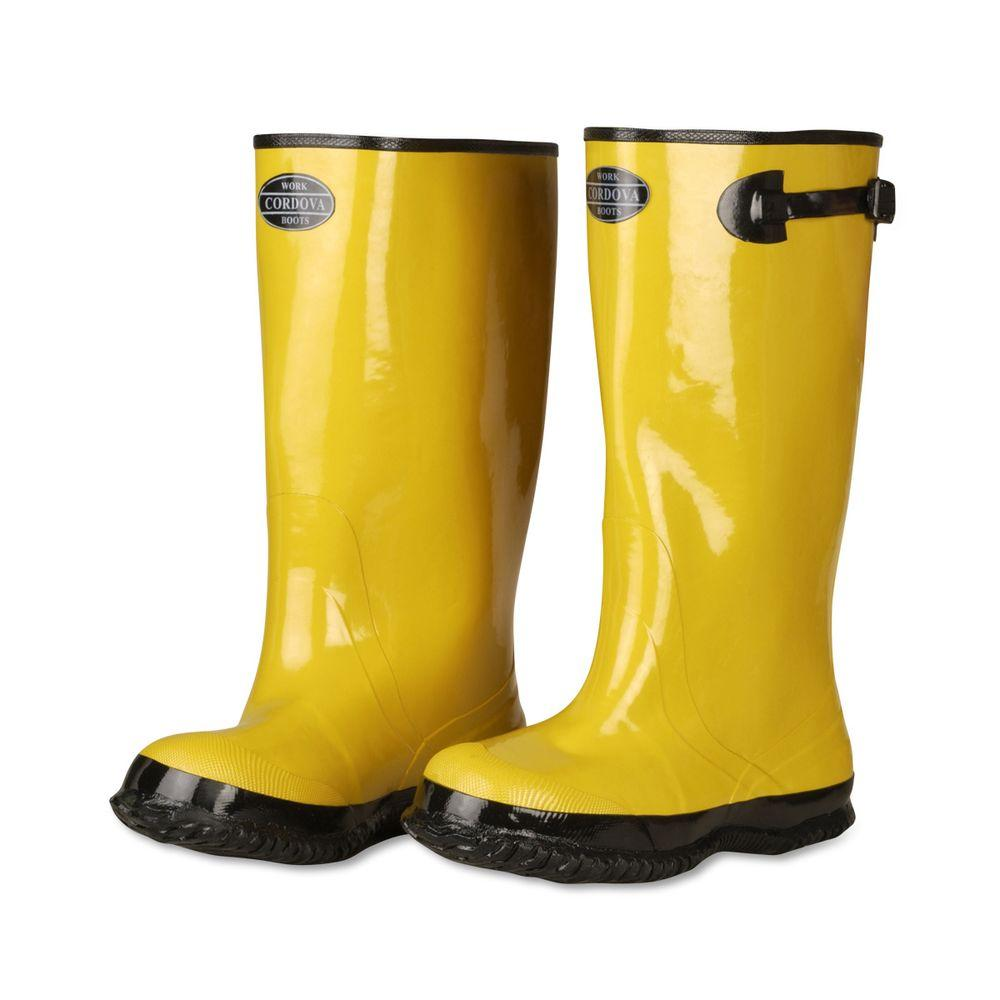 Cordova 17 in. Over The Boot Rubber Slush Boot Cotton Lined Hi-Vis Yellow Top Strap and Buckle Size 13