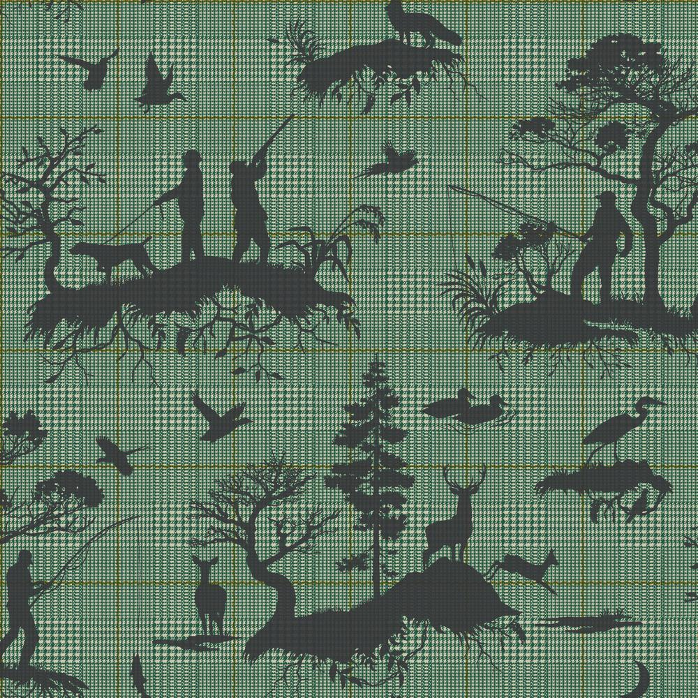 56 sq. ft. Tailored Outdoorsmen Toile Wallpaper