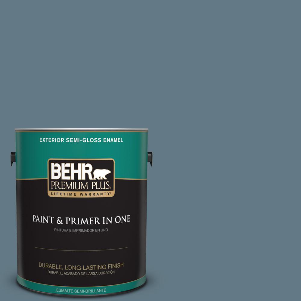 1-gal. #540F-5 Smokey Blue Semi-Gloss Enamel Exterior Paint
