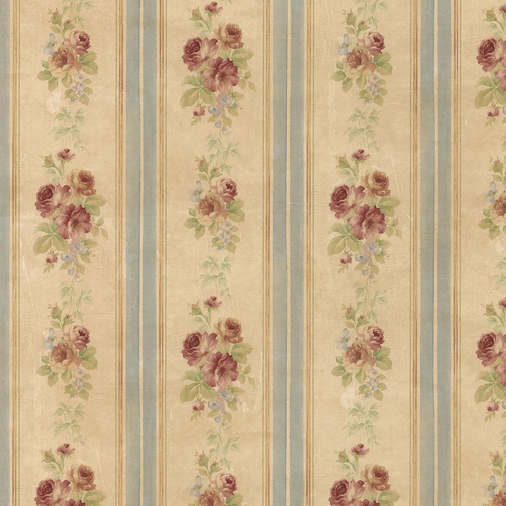 Small Rose Stripe Vinyl Roll Wallpaper (Covers 56 sq. ft.)