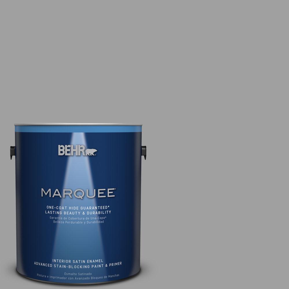 1 gal. #T11-1 Grayve Yard Satin Enamel Interior Paint