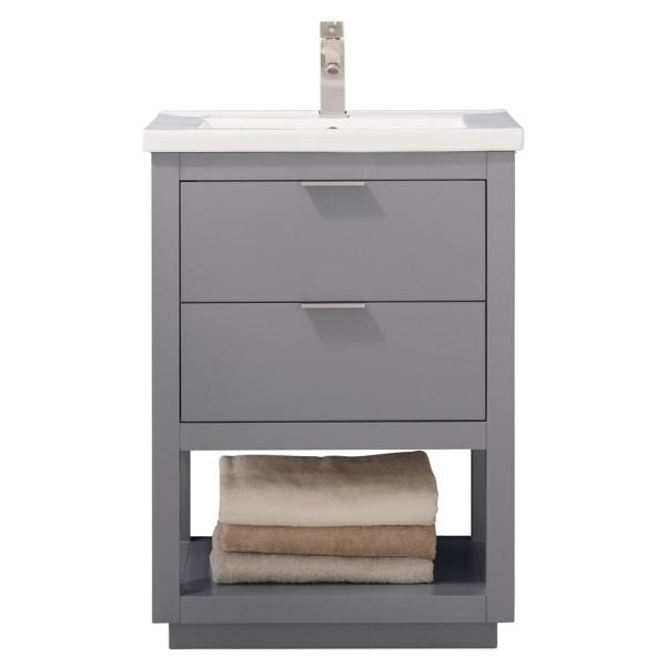 Design Element Klein 24 In W X 18 In D Bath Vanity In Gray With Porcelain Vanity Top In White With White Basin S04 24 Gy The Home Depot