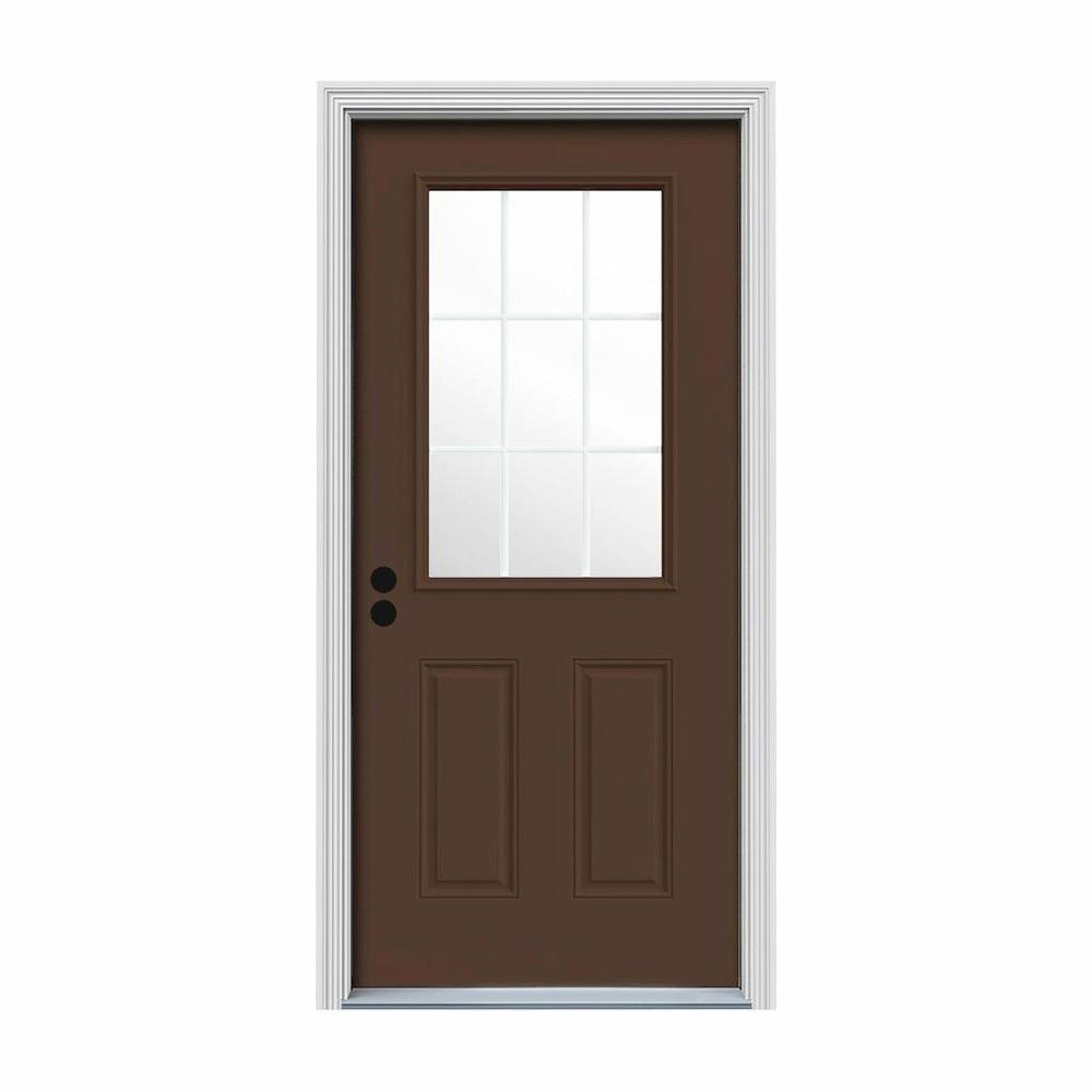JELD-WEN 32 in. x 80 in. 9 Lite Dark Chocolate Painted Steel Prehung Right-Hand Inswing Front Door w/Brickmould