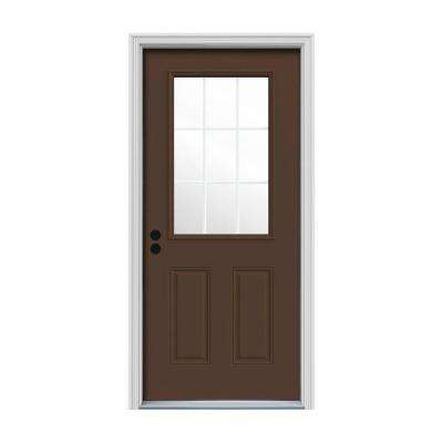 32 in. x 80 in. 9 Lite Dark Chocolate Painted Steel Prehung Right-Hand Inswing Front Door w/Brickmould