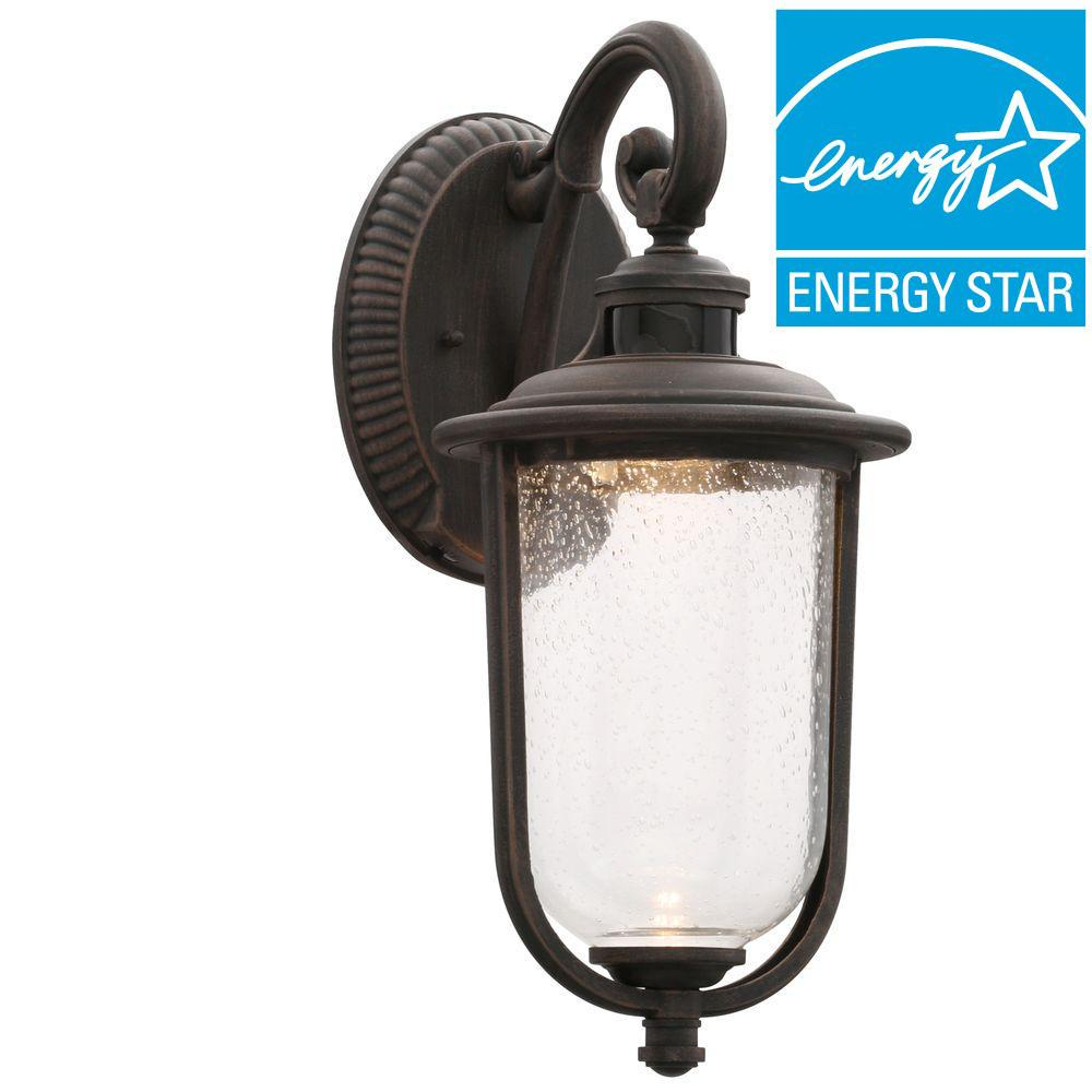 Hampton Bay Perdido Rust Outdoor LED Motion Sensor Wall Mount ...