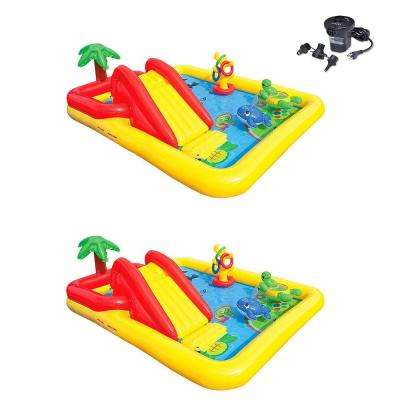 Rectangle 77 in. x 31 in. Deep Inflatable Ocean Play Center Kids Backyard Pool (2-Pack) Plus Air Pump