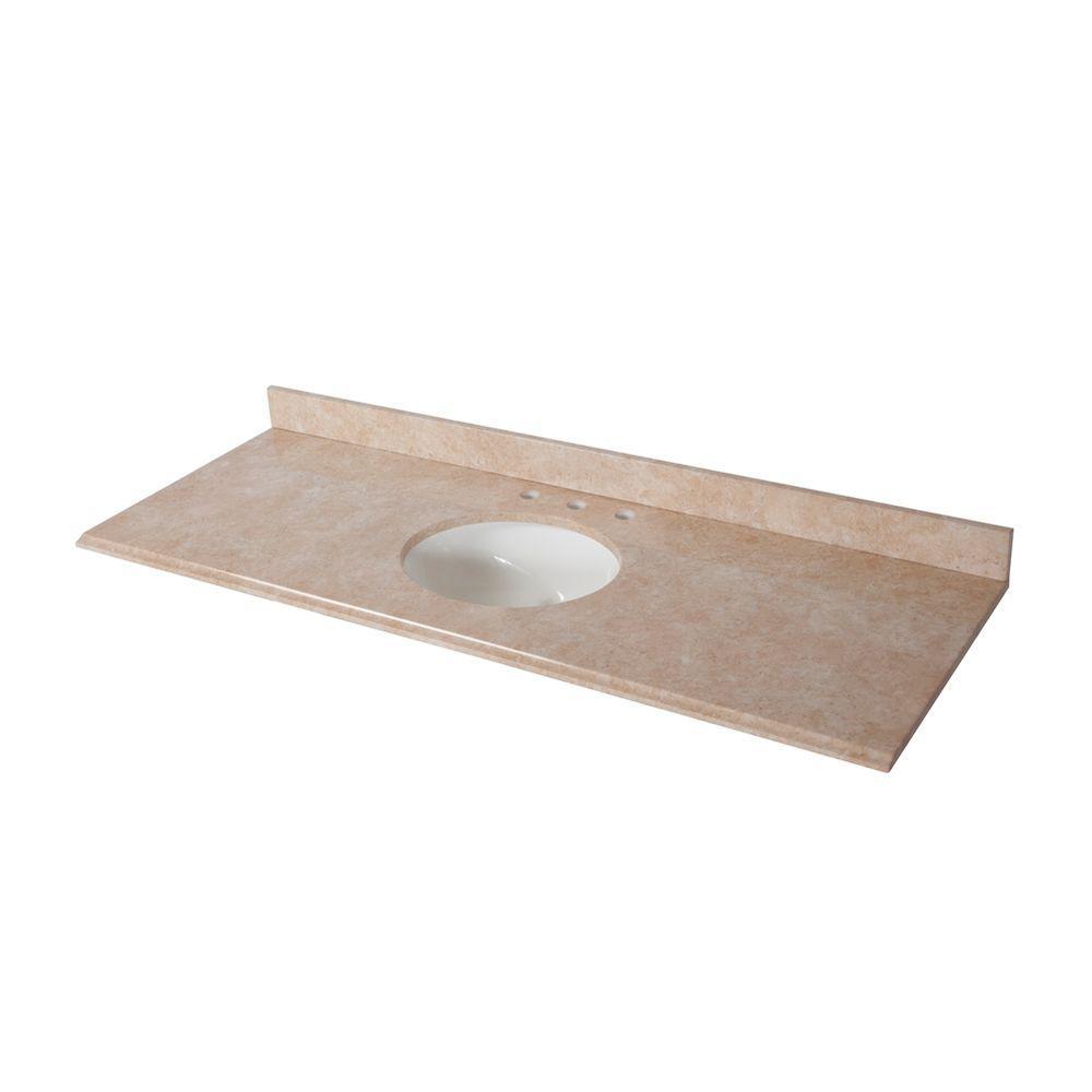 61 in. W Stone Effects Single Sink Vanity Top in Oasis