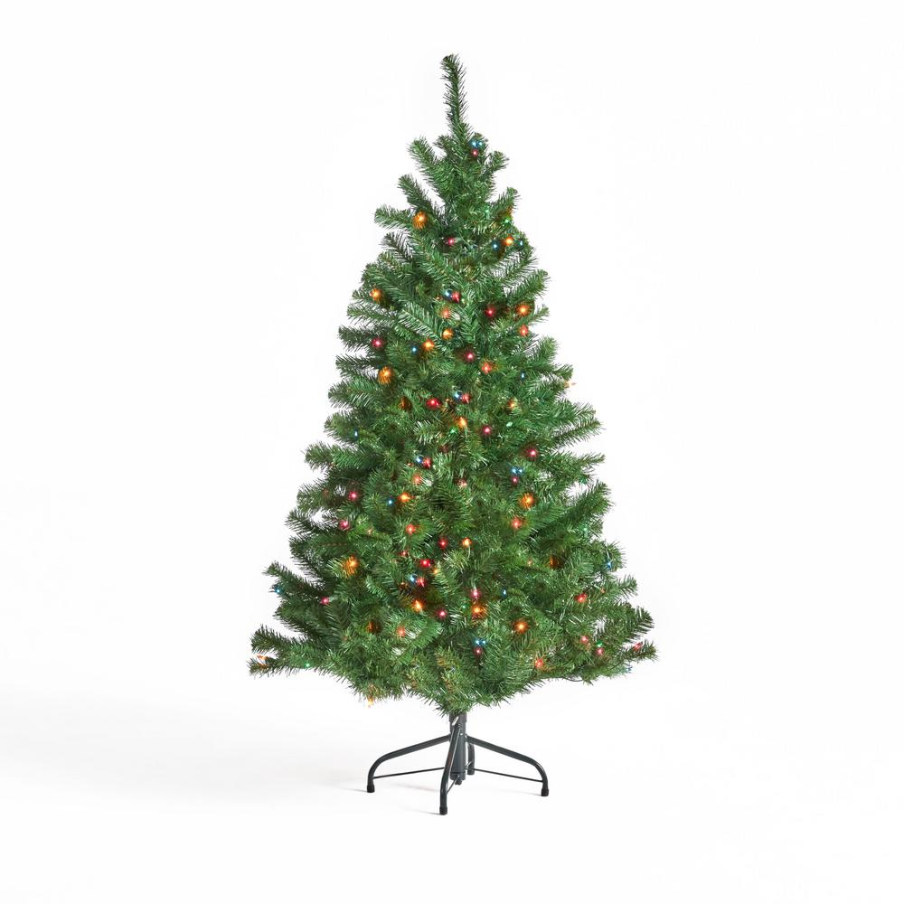 4 5 Ft Pre Lit Christmas Tree: Noble House 4.5 Ft. Pre-Lit Noble Fir Hinged Artificial