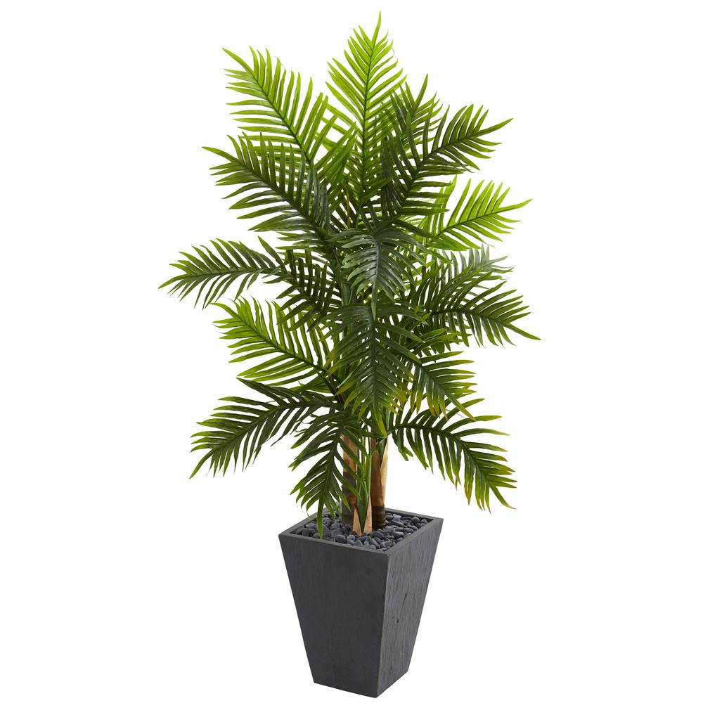 nearly natural indoor 5 5 ft areca palm artificial tree in slate finished planter real touch. Black Bedroom Furniture Sets. Home Design Ideas