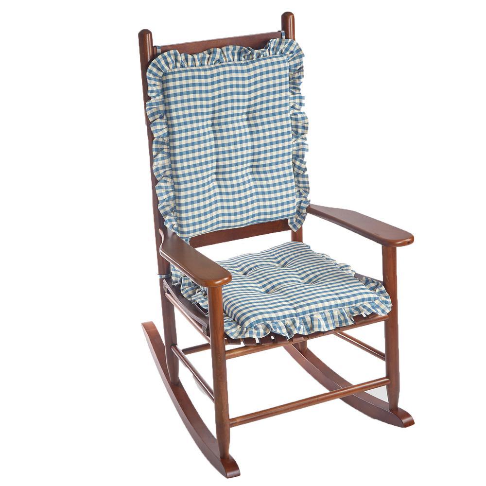 Gingham Ruffle Blue Rectangular Delightfill Rocking Chair Cushion Set