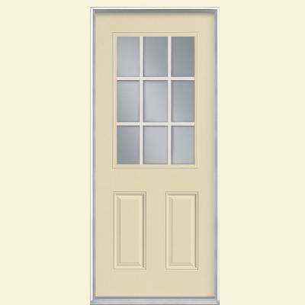 32 in. x 80 in. 9 Lite Left Hand Inswing Painted Smooth Fiberglass Prehung Front Exterior Door with No Brickmold