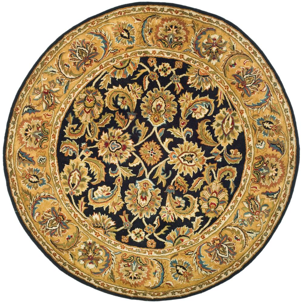Safavieh Classic Black Gold 4 Ft X 4 Ft Round Area Rug Cl758b 4r