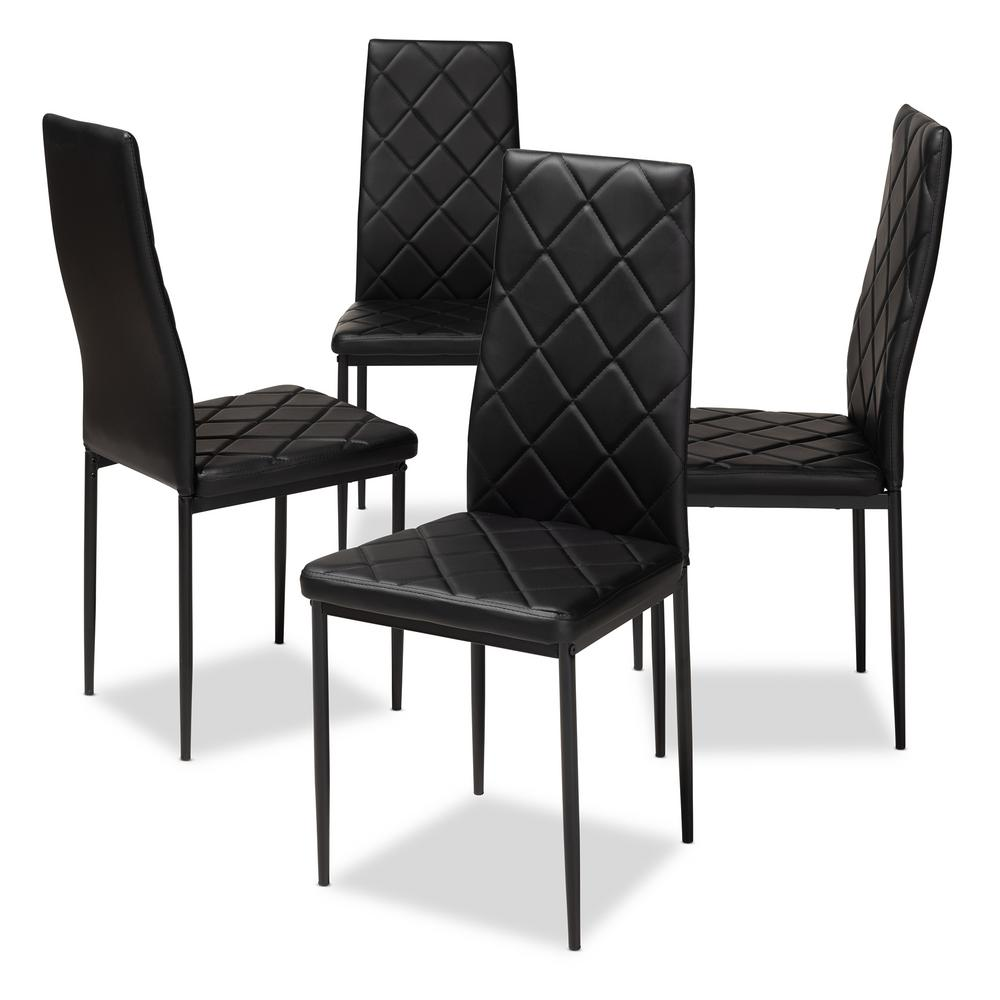 Baxton Studio Blaise Black Faux Leather Upholstered Dining Chair Set Of 4