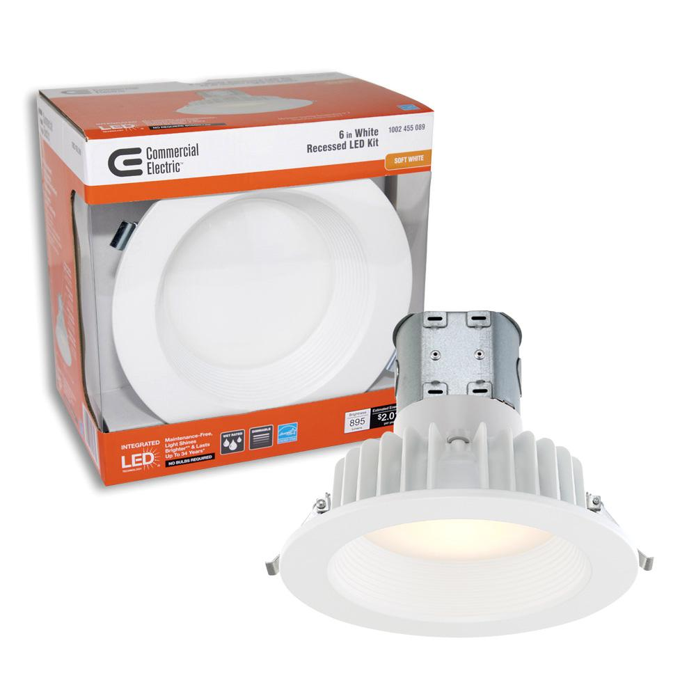 Commercial Electric Easy Up 6 In White Baffle Integrated Led Recessed Kit At 91 Cri 3000k Soft