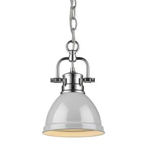 Duncan 1-Light Chrome Mini-Pendant and Chain with Gray Shade
