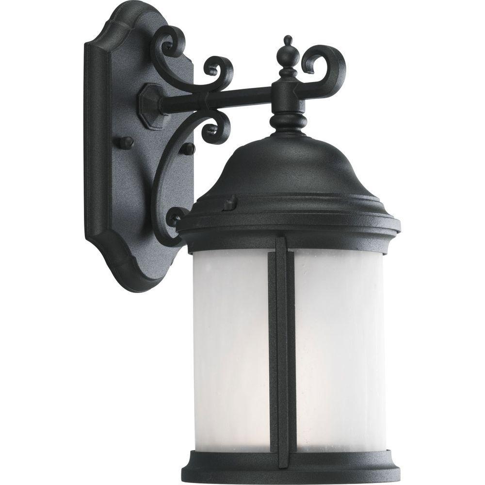 Progress Lighting Ashmore Collection 1-Light Outdoor Textured Black Wall Lantern