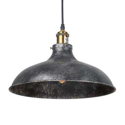 1-Light Black Gray Dome Industrial Pendant