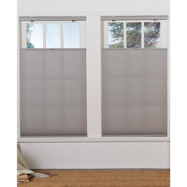 Perfect Lift Window Treatment Cut To Width Gray Cloud 1in Cordless Light Filter Top Down Bottom Up Cellular Shade 55in W X 64in L Qglg550640 The Home Depot