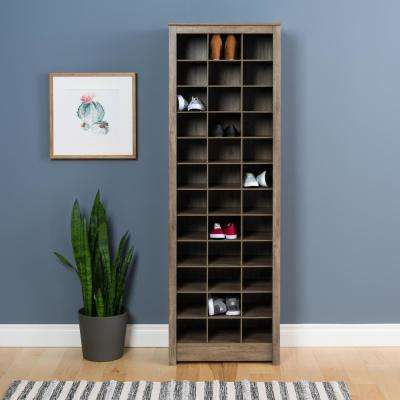 Drifted Gray E Saving 36 Pair Shoe Organizer Storage Cabinet