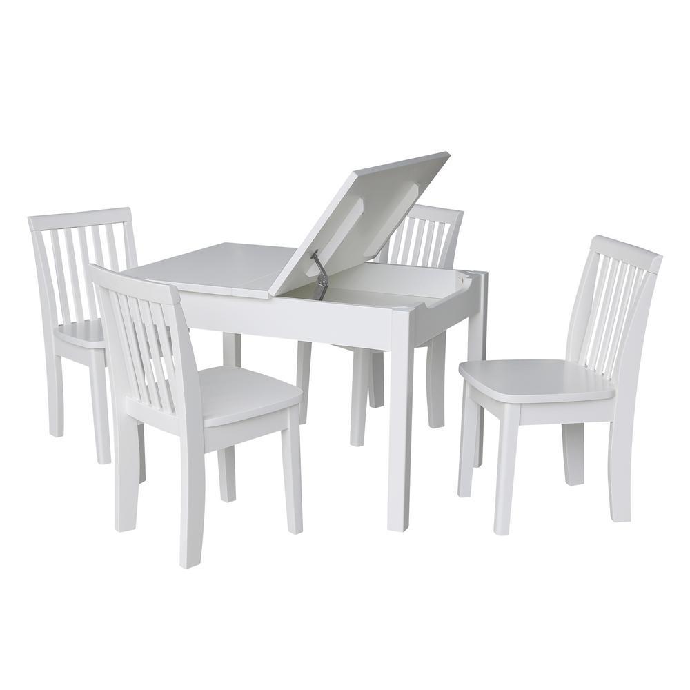 5-Piece White Child's Lift-Top Storage Table Set