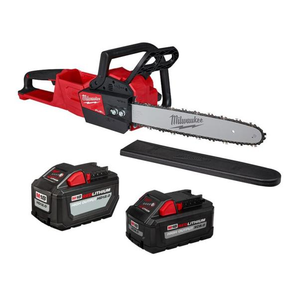 M18 FUEL 16 in. 18-Volt Lithium-Ion Battery Brushless Cordless Chainsaw with 12 Ah and 8 Ah Batteries