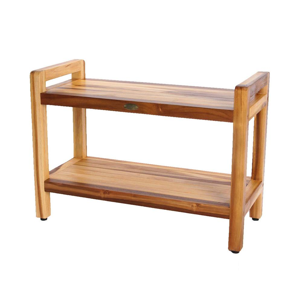EcoDecors EarthyTeak Classic 29 in. Shower Bench with Shelf And LiftAide Arms