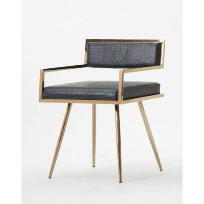 Black and Gold Leatherette Upholstered Metal Dining Chair with Splayed Legs