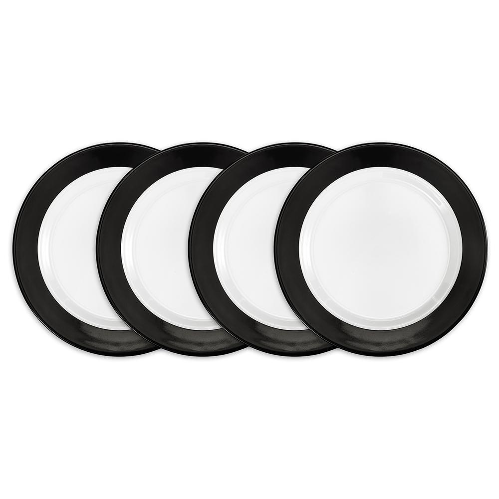 Moonbeam 4-Piece Black Melamine 8 in. Ring Salad Plate Set