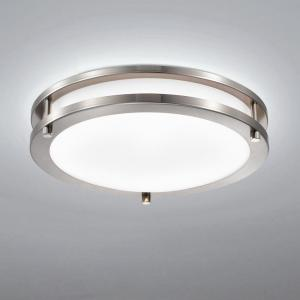 11.75 in. Brushed Nickel Dimmable 15-Watt Selectable LED Flush Mount 3000K/4000K/5000K with Acrylic Shade