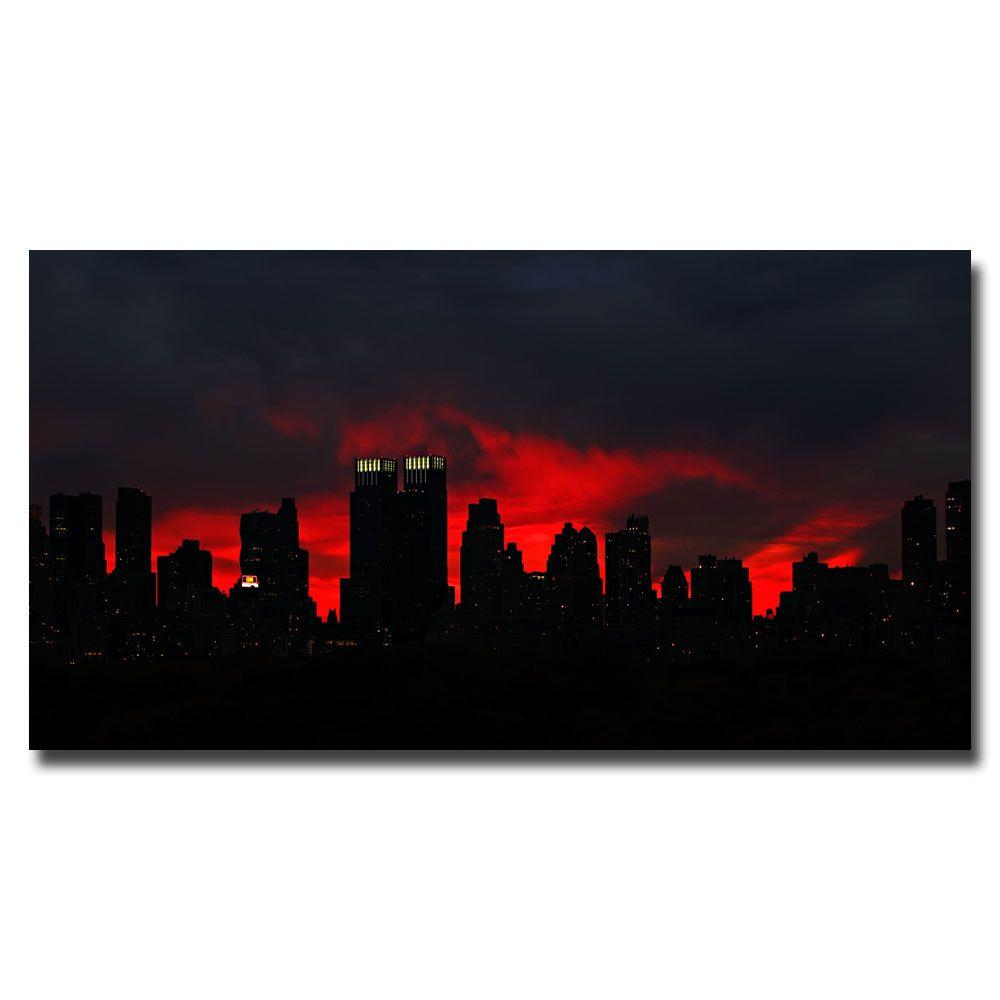 16 in. x 32 in. Night Skyline Canvas Art