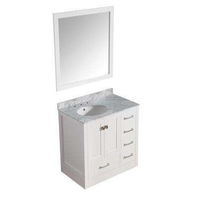 Chateau 36 in. W x 35 in. H Skirted Bath Vanity in White with Vanity Top in Carrara White with White Basin and Mirror