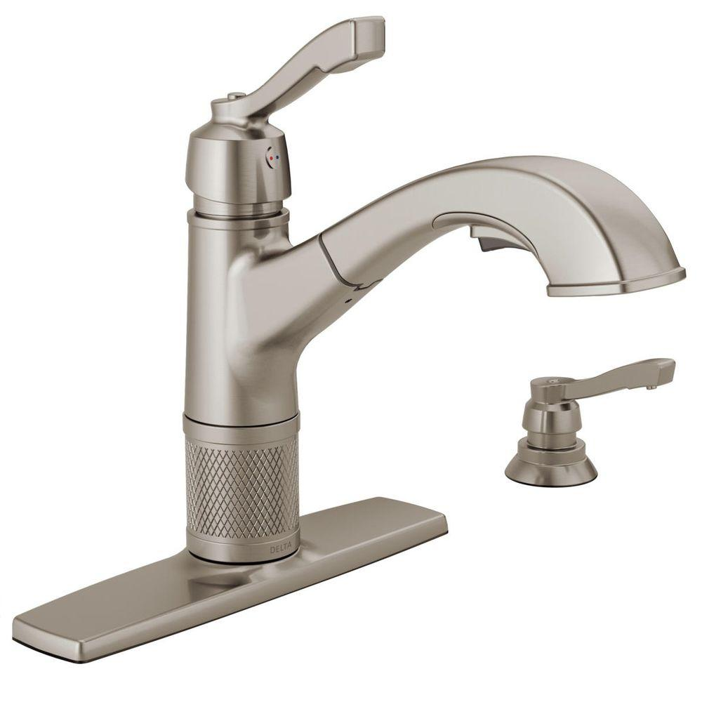 Delta Allentown Single-Handle Pull-Out Sprayer Kitchen Faucet with ...