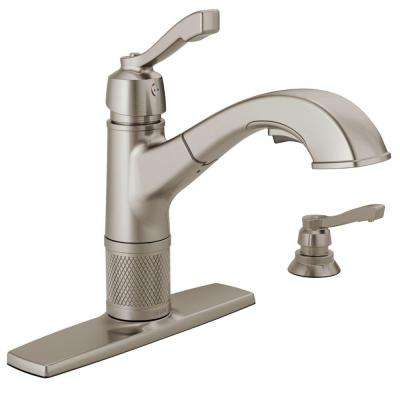 Delta Allentown Single-Handle Pull-Out Sprayer Kitchen Faucet with Soap Dispenser in Stainless