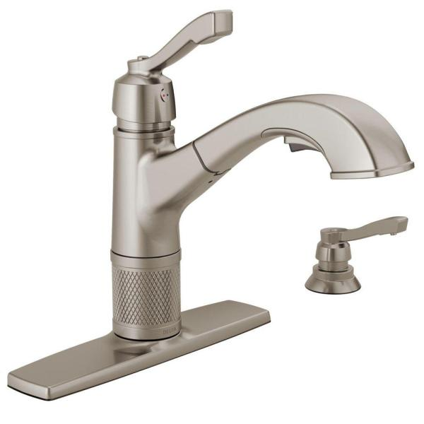 Allentown Single-Handle Pull-Out Sprayer Kitchen Faucet with Soap Dispenser in Stainless