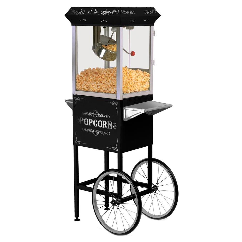 8 oz. Popcorn Trolley, Black