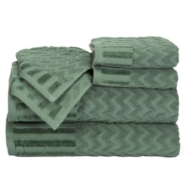 Lavish Home Chevron Egyptian Cotton Towel Set in Green (6-Piece) 67-0020-G