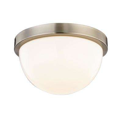 Luna 60-Watt Equivalence Satin Nickel Integrated LED Dome Flush Mount with Glass Shade