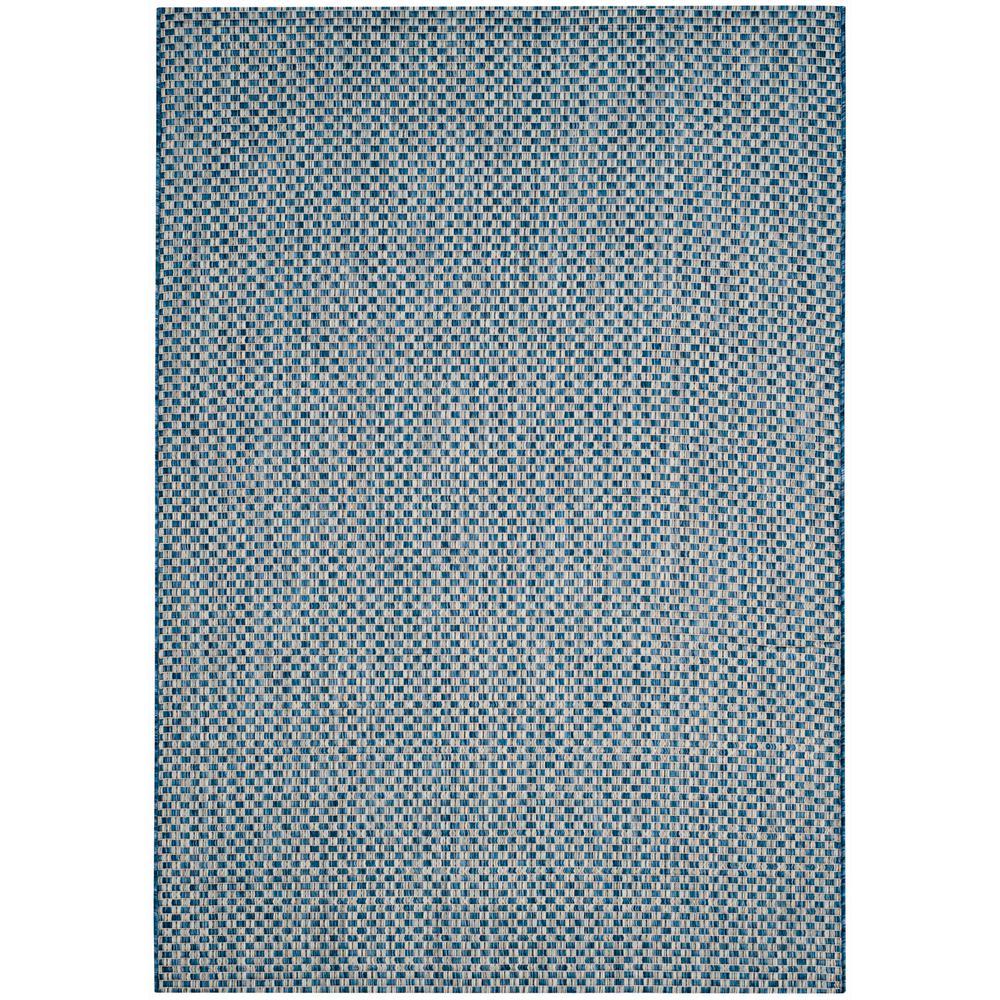Courtyard Blue/Light Gray 6 ft. 7 in. x 9 ft. 6