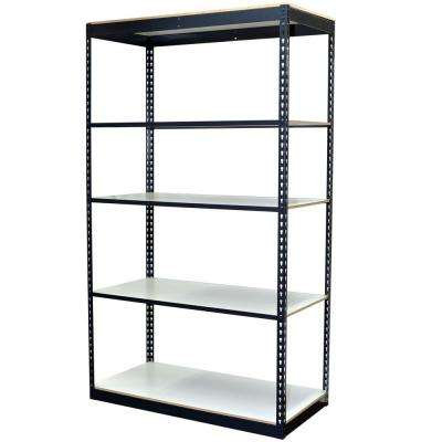 96 in. H x 48 in. W x 24 in. D 5-Shelf Steel Boltless Shelving Unit with Low Profile Shelves and Laminate Board Decking