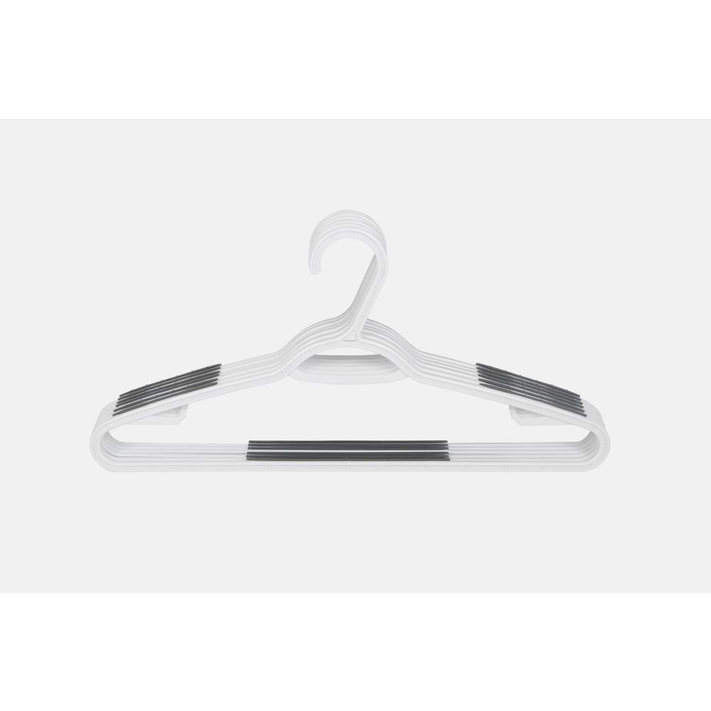 HDX Non-Slip Hanger (40-Pack), White The Nonslip Plastic Hangers offer a simple and affordable way to organize your closet. The white plastic hangers have a traditional triangular shape, but are outfit with grey strips of nonslip material on either arm to help prevent clothing from falling off the hanger. These hangers are non-notched, but have larger strips of nonslip material to accommodate a wide variety of clothing styles. The standard-size hangers can hold more weight than slim style hangers, allowing them to be used for suit jackets, coats, blouses, t-shirts and more.