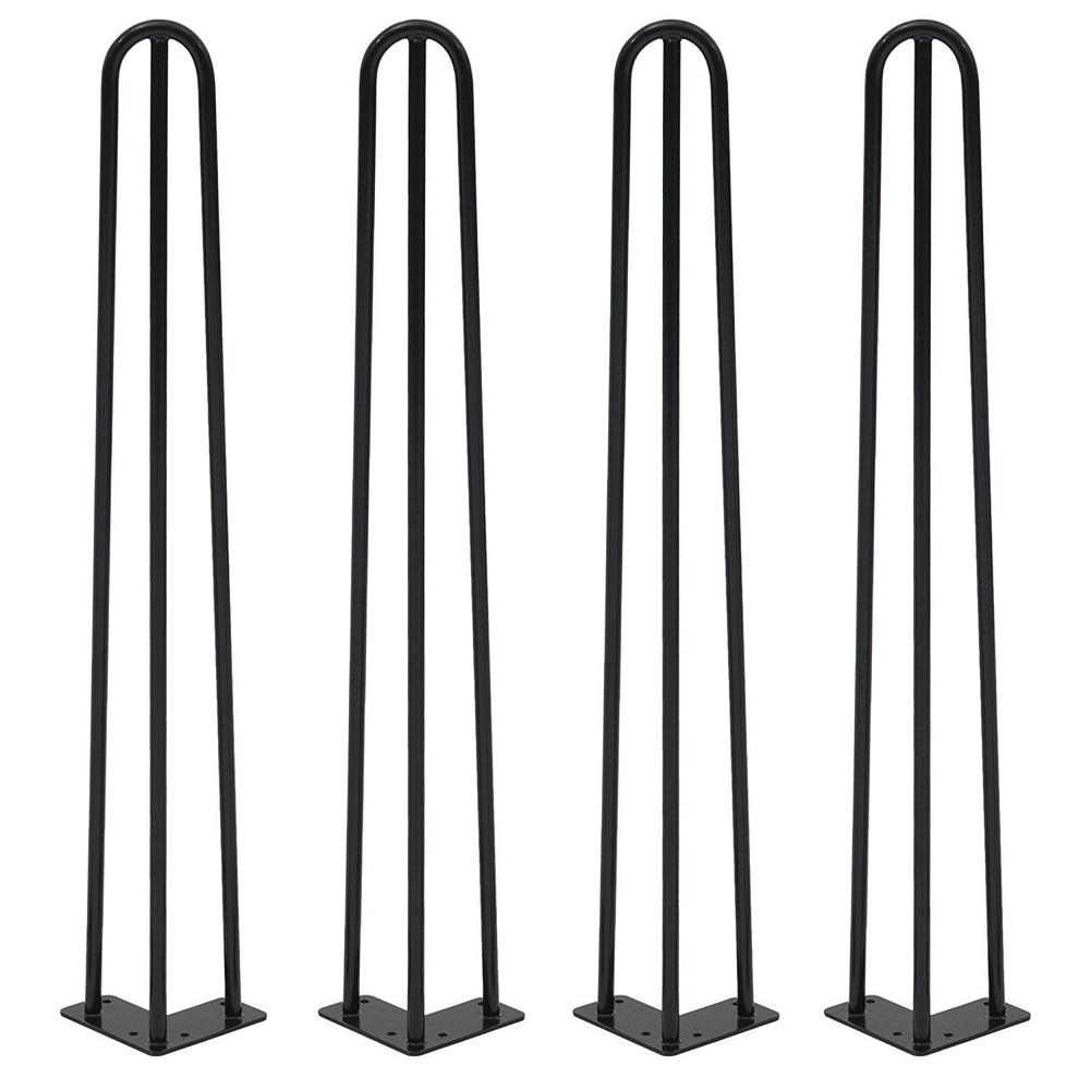 Heavy Duty 3-Rod Black Powder Coat Hairpin Legs - Industrial Style