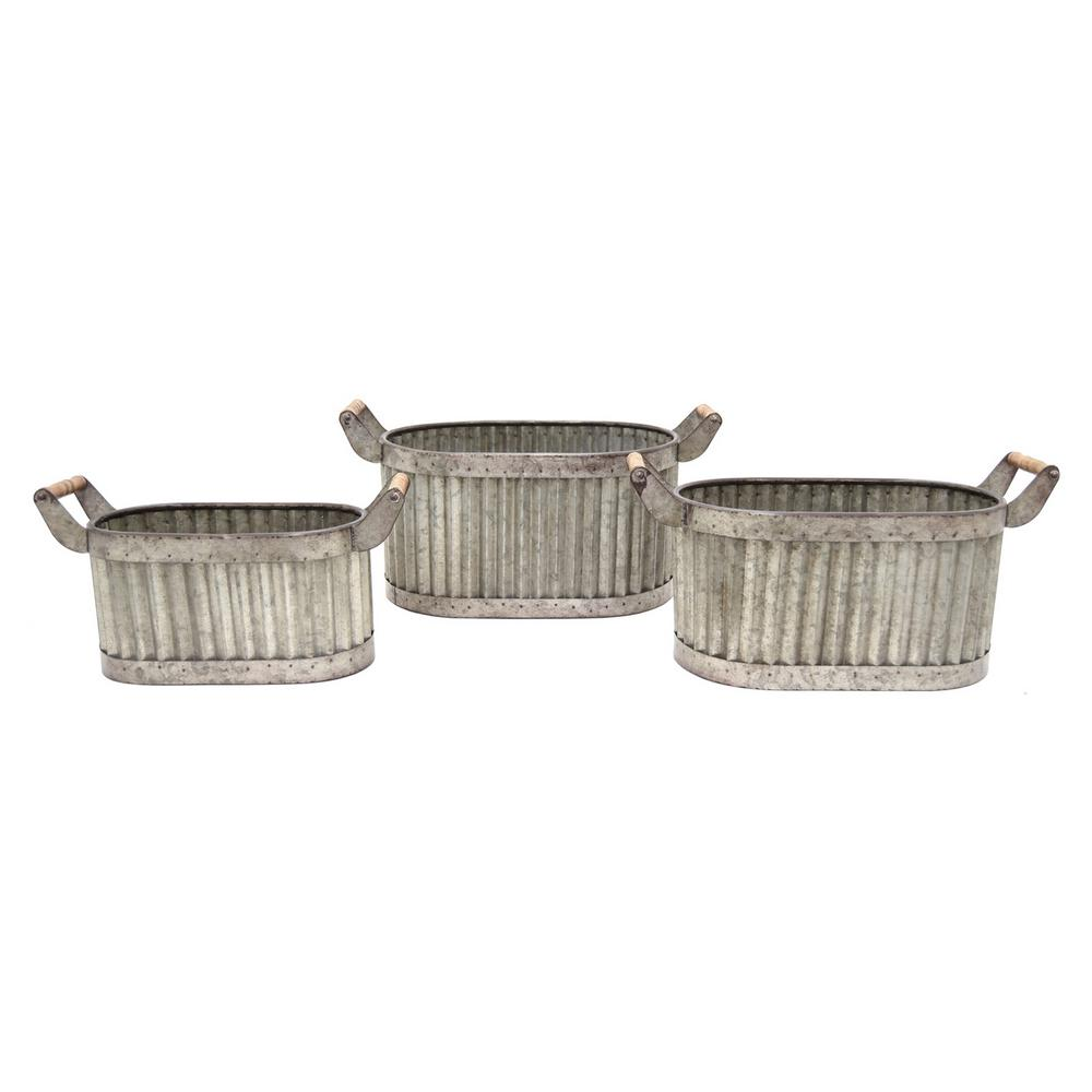 19.5 in. x 10.25 in. Planters in Gray (Set of 3)