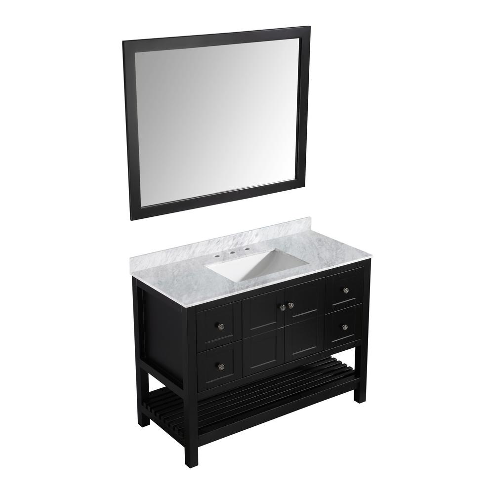 ANZZI Montaigne 48 in. W x 22 in. D Bath Vanity in Black with Marble Vanity Top in Carrara White with White Basin and Mirror