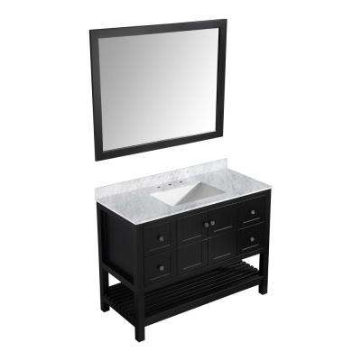 D Vanity In Espresso With Marble Vanity