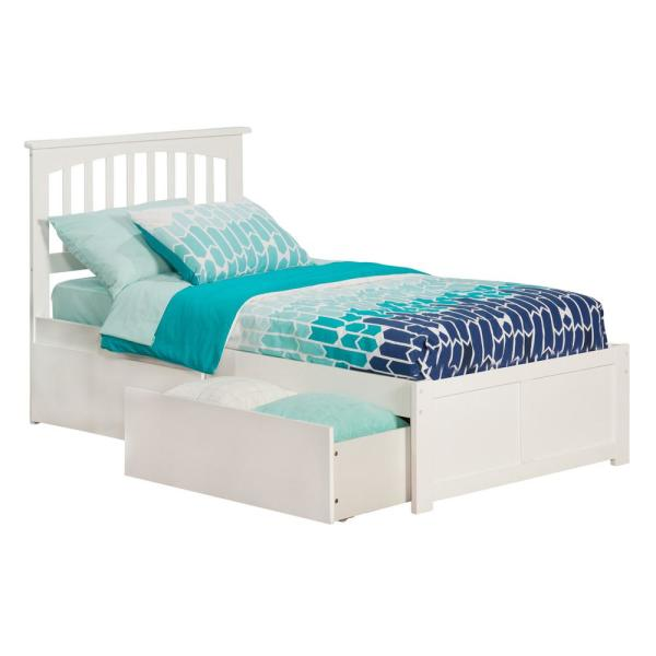 Atlantic Furniture Mission White Twin Platform Bed with Flat Panel Foot Board and 2-Urban Bed Drawers